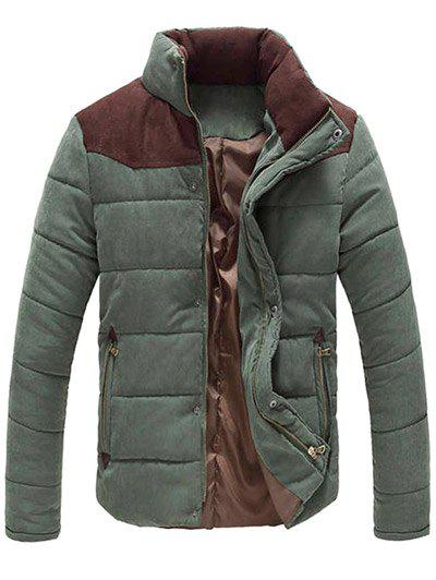 Color Block Zipper Snap Button Stand Collar Men's Padded Coat - ARMY GREEN L
