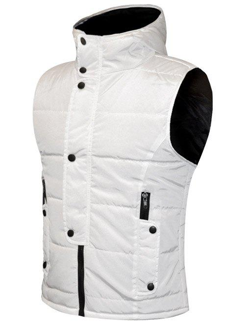 Snap Button Design Zip Up Hooded Men's Padded Waistcoat - WHITE 2XL