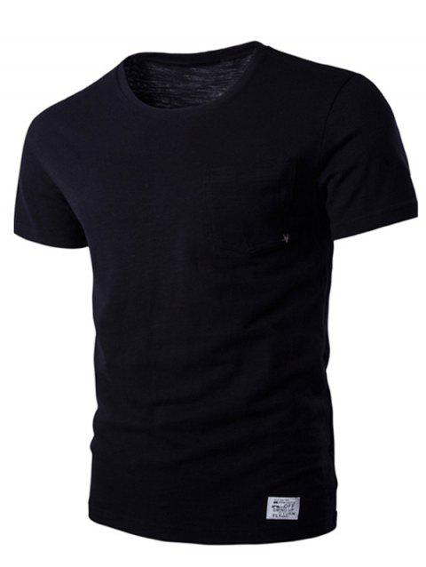 Breast Pocket Metal Star Embellished Round Neck Short Sleeve Men's T-Shirt - BLACK L