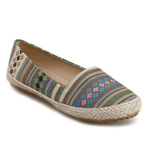 Leisure Striped and Weaving Design Women's Flat Shoes - YELLOW/GREEN 37