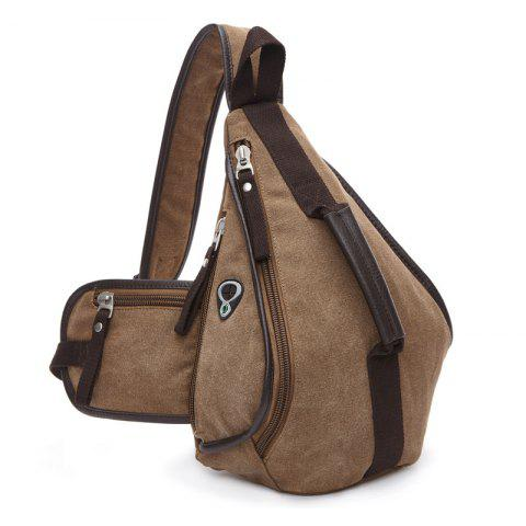 Trendy Zippers and Color Splicing Design Men's Messenger Bag - COFFEE