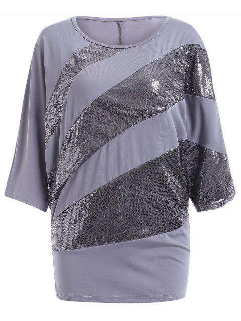 Sequin Embellished Loose Top - GRAY S