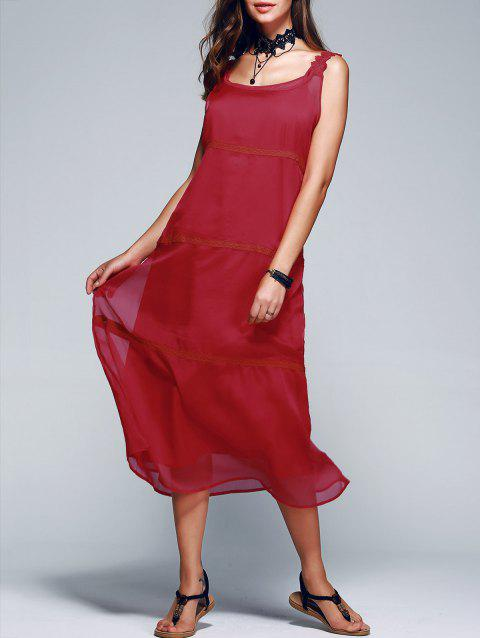 Elegant Spaghetti Strap Tank Top + Solid Color Dress Women's Twinset - DEEP RED L