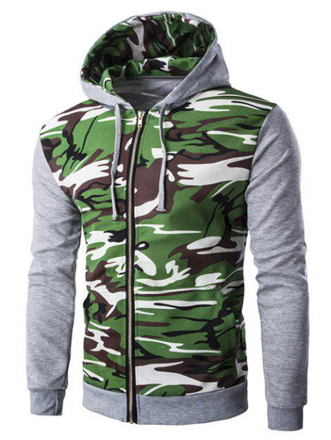 Camouflage Splicing Zip-Up Hooded Long Sleeve Men's Hoodie - LIGHT GRAY M