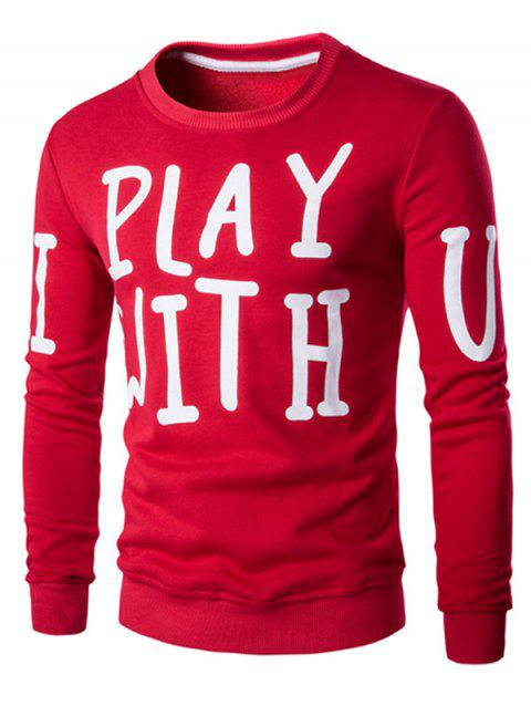 Letter Print Crew Neck Long Sleeve Men's Pullover Sweatshirt - RED L