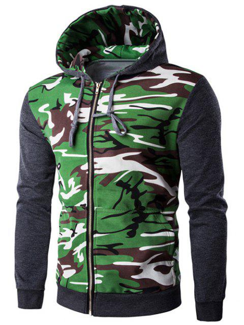 Camouflage Splicing Zip-Up Hooded Long Sleeve Men's Hoodie - DEEP GRAY L