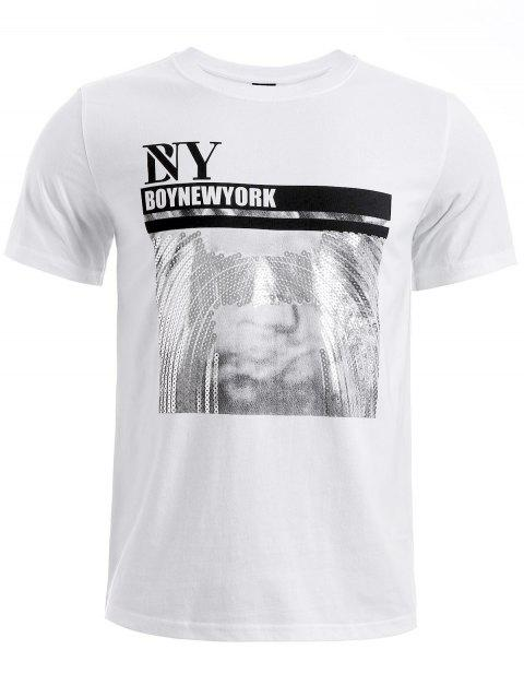 BoyNewYork Sequins Design Short Sleeves T-Shirt - WHITE S