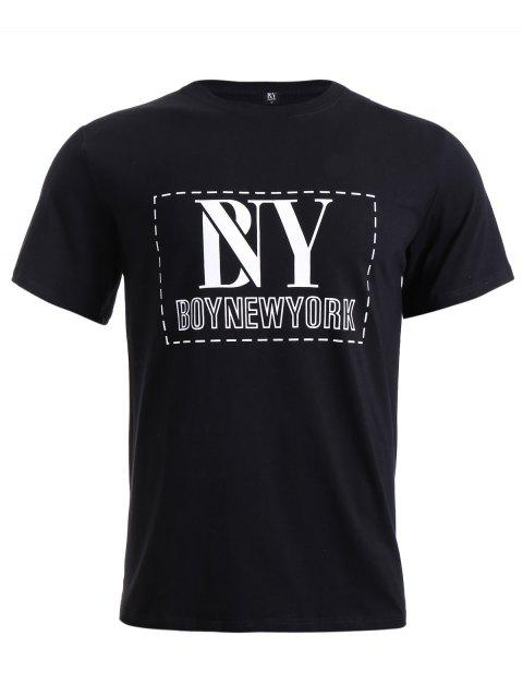 BoyNewYork Solid Color Short Sleeve T-Shirt - BLACK S