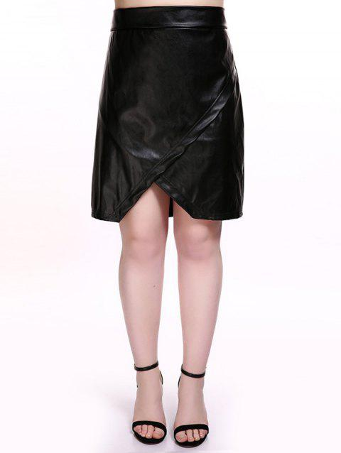 Plus Size Overlap PU Leather Skirt - BLACK 4XL