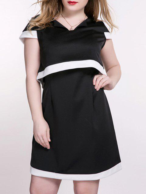 Cap Sleeve Tee and Cami Dress Twinset - WHITE/BLACK 3XL
