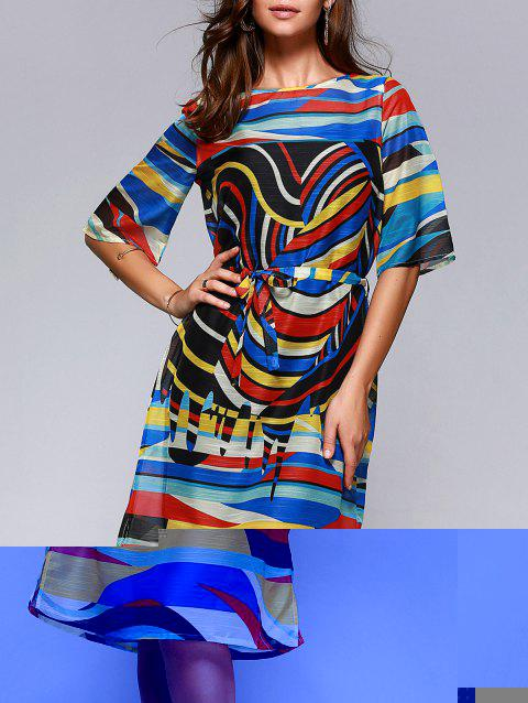 Brief Women's Hit Color Printed Loose Dress - COLORFUL M