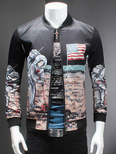 Novelty Moon Landing Print Stand Collar Long Sleeves Jacket - COLORMIX M