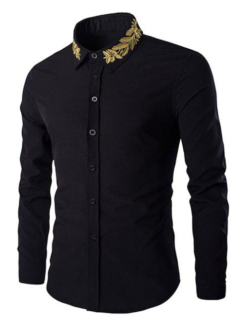 Turn-Down Collar Olive Branch Embroidery Long Sleeve Men's Shirt - BLACK M