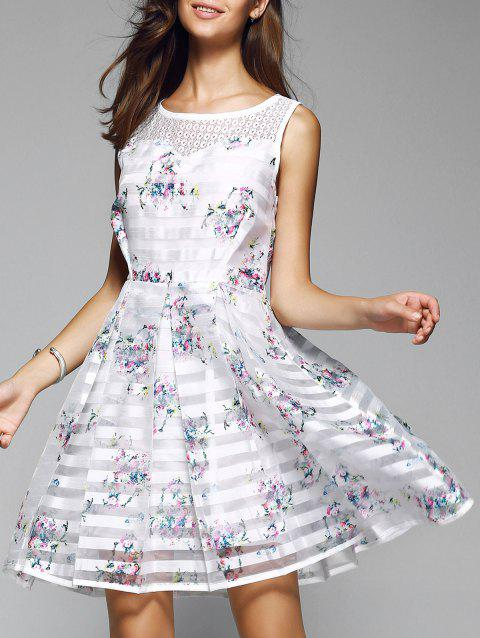 Doux Robe à rayures Floral Splicing - Blanc S