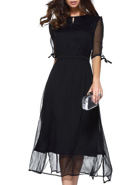 Split Sleeves High Waist Chiffon Prom Dress - BLACK XL