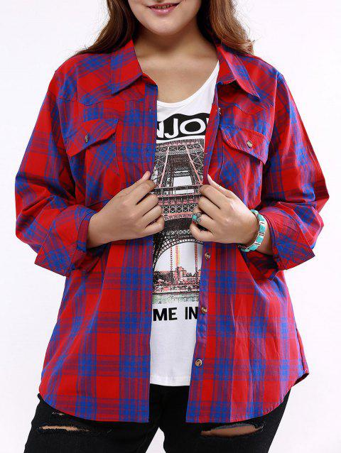 Plus Size Flap Pockets Plaid Shirt - BLUE/RED 3XL