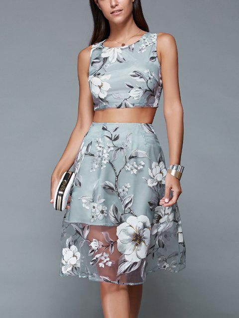9a40b0be28883 Floral Print Crop Top and Mesh Spliced Skirt Two Piece Prom Dress - BLUE  GRAY L
