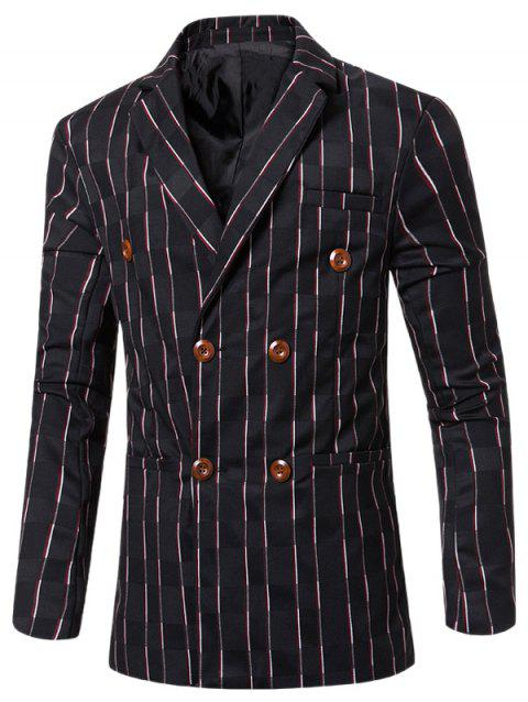 1a3f5d67b New Look Striped Notched Lapel Collar Double Breasted Blazer For Men -  BLACK M