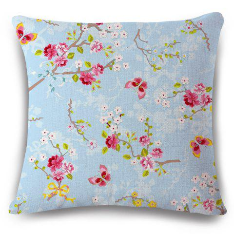 Simple Flax Flowerlet Butterfly Spring Scenery Pattern Sofa Pillow Case - LIGHT BLUE