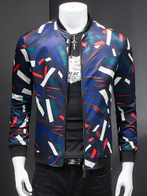 3D Geometric Print Long Sleeves Stand Collar Jacket - COLORMIX M