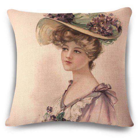 Vintage Flax Sweet Women with Flower Hat Painting Pattern Pillow Case - APRICOT
