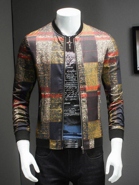 Trendy Stand Collar Long Sleeves Tartan Jacket - COLORMIX M