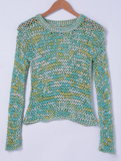 Stylish Women's RoundNeck Weave Openwork Top - MINT GREEN ONE SIZE(FIT SIZE XS TO M)