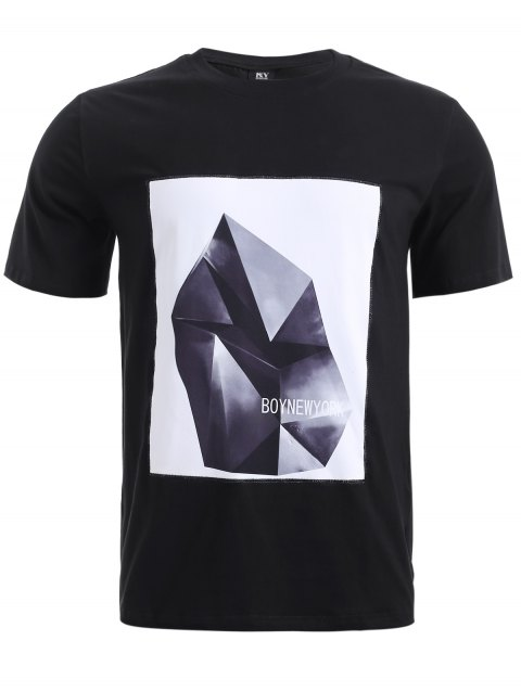 BoyNewYork Applique Design Short Sleeves T-Shirt - BLACK S