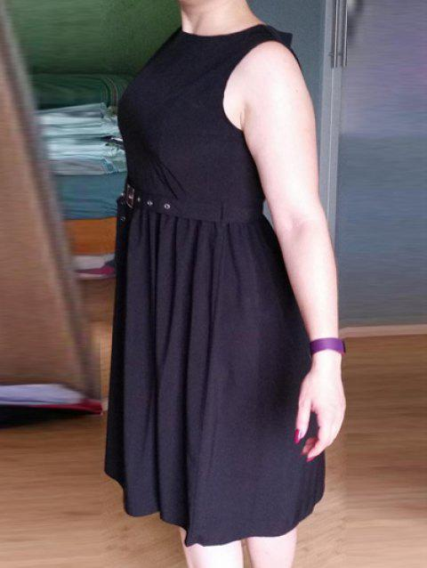 Sleeveless Solid Color Flare Dress - BLACK 2XL