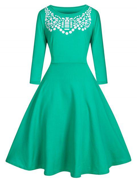 Spliced Print High Waist Fit and Flare Dress - GREEN XL