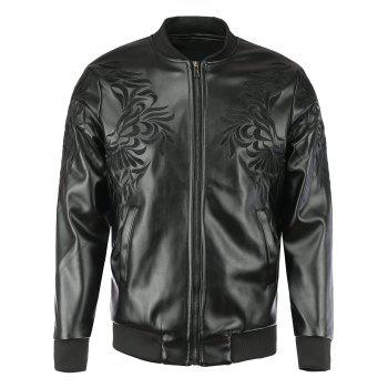 Floral Embroidered Stand Collar Men's Faux Leather Jacket
