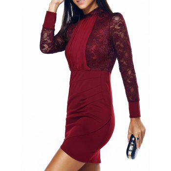 Long Sleeve Ruched Lace Insert Sheath Dress - WINE RED M