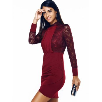 Long Sleeve Ruched Lace Insert Sheath Dress - M M