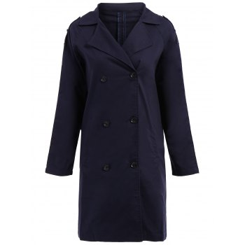 Casual Women's Turn-Down Collar Double Breasted Long Sleeve Long Coat