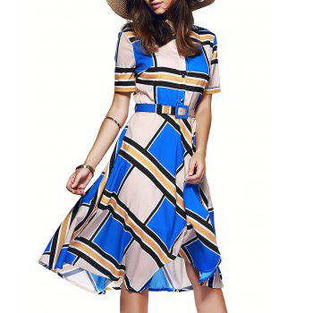 Color Block Tie Belt Buttoned Dress