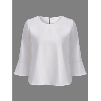 Elegant Women's Scoop Neck White 3/4 Sleeve Blouse