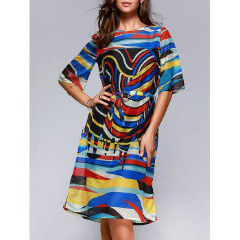Brief Women's Hit Color Printed Loose Dress