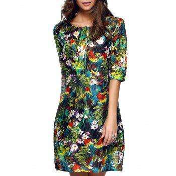 Stylish Women's Half Sleeves Tropical Print Loose Dress
