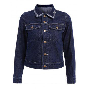 Stylish Women's Turn-Down Collar Long Sleeve Bleach Wash Denim Jacket