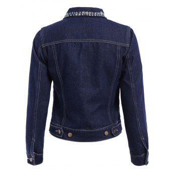 Stylish Women's Turn-Down Collar Long Sleeve Bleach Wash Denim Jacket - DEEP BLUE M