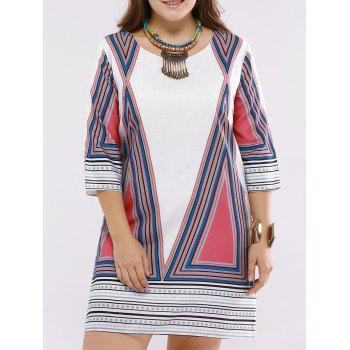 Refreshing Geometric Print Scoop Neck Plus Size Dress For Women