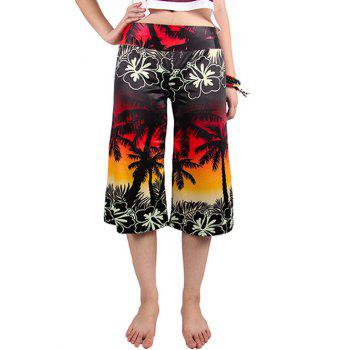 Chic Elastic Waist Coconut Tree Print Women's Wide Leg Pants