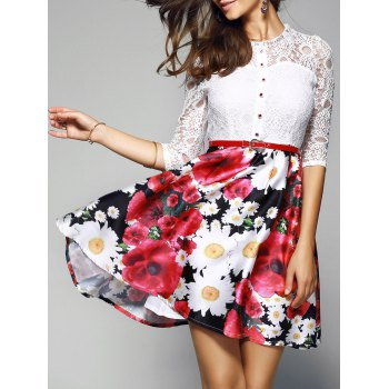 Lace Spliced Floral Print Belted Dress