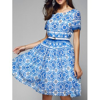 High-Waist Printed Belted Chiffon Dress