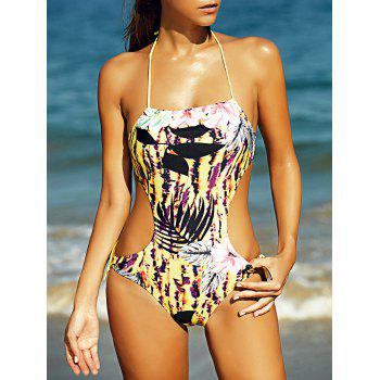 Halter Full Print Hollow Out Women's One-Piece Swimsuit