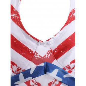 Halter Backless American Flag Tankini with Padded Cups - BLUE/RED XL