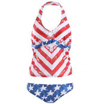 Halter Backless American Flag Tankini with Padded Cups