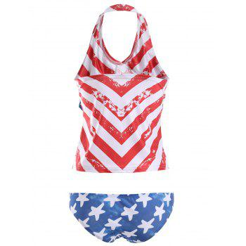 Halter Backless Zigzag Top + Star Print Culotte Women 's  Tankini - Bleu et Rouge L