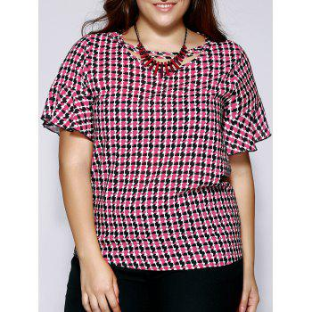 Oversized Sweet Houndstooth Print Flounced Sleeve Blouse - RED RED