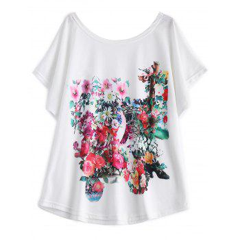 White Batwing Sleeve Floral Print T-Shirt